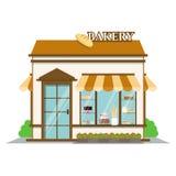 面包店界面 在平的样式设计的商店象 工厂建筑物传染媒介例证 库存图片