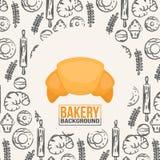 面包店背景明亮的新月形面包传染媒介 免版税库存图片