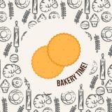面包店背景明亮的曲奇饼传染媒介 库存图片
