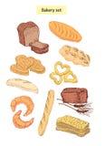 面包店被设置的得出的食物现有量例证 图库摄影