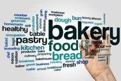 面包店词在灰色背景的云彩概念 库存照片