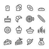 面包店象集合,线版本,传染媒介eps10 库存图片