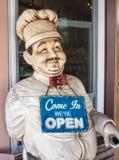面包店边路雕象 库存图片