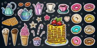 面包店酥皮点心甜点点心对象汇集商店咖啡馆poste 库存图片