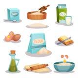 面包店集合、厨房器物和食品成分烘烤和烹调的在白色隔绝的传染媒介例证 库存图片