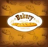 面包店面包 无缝的背景模式 库存照片