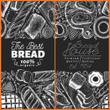 面包店顶视图框架 手拉的传染媒介例证用面包和酥皮点心在粉笔板 减速火箭的设计模板 能 皇族释放例证
