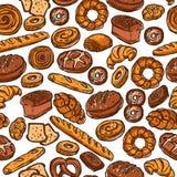 面包店颜色无缝的样式 图库摄影
