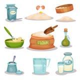 面包店ingridients设置了,厨房器物和产品烘烤和烹调的传染媒介例证在白色背景 图库摄影