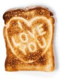面包敬酒的爱消息 免版税库存照片