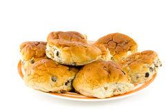 面包无核小葡萄干卷 免版税库存照片