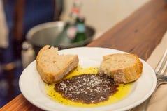 面包橄榄油和香醋 免版税库存图片