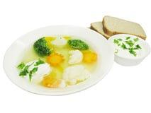 面包汤蔬菜 图库摄影
