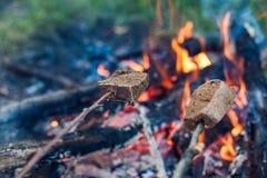 面包油煎在利益 免版税库存图片