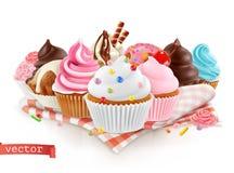 面包点心店,糖果店 点心甜点 蛋糕,杯形蛋糕 3d向量 皇族释放例证