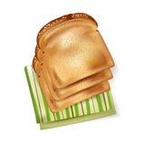 面包片在餐巾的 免版税图库摄影
