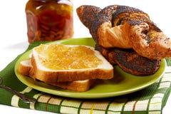 面包片用堵塞和卷 免版税图库摄影