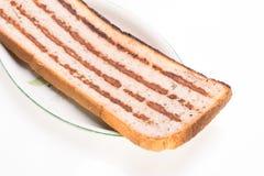 面包片用肉末,一顿传统保加利亚早餐告诉了strandjanka或公主 免版税库存图片