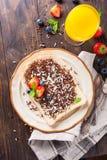 面包片用hagelslag巧克力洒 免版税库存图片