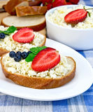 面包用凝乳和莓果在蓝色布料 免版税库存照片