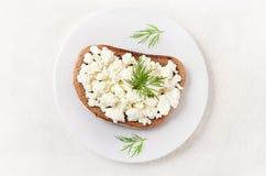 面包用凝乳酪,顶视图 免版税库存图片
