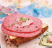 面包用蒜味咸腊肠 免版税图库摄影