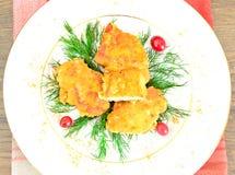 面包鸡内圆角用草本和蔓越桔 图库摄影