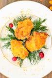 面包鸡内圆角用草本和蔓越桔 库存图片