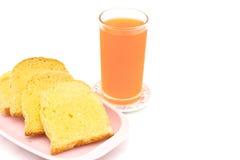 面包黄油用橙汁 库存图片