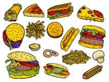 面卷饼快餐kebab饼集合炸玉米饼 皇族释放例证