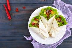 面卷饼用切好的肉,鲕梨,菜,在一块板材的辣椒在黑暗的木背景 免版税库存照片