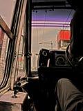 面向目标的公共汽车司机 库存照片