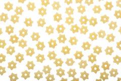 面团在白色背景的星形状 顶视图 平的位置 免版税图库摄影