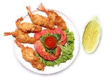 面团油煎的大虾 免版税图库摄影
