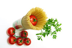 面团用蕃茄和荷兰芹 库存照片