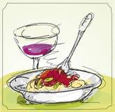 面团膳食在餐馆 免版税库存图片