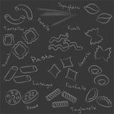 面团食物在黑人委员会的概述标志的类型 免版税库存图片