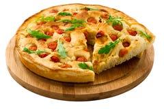 面团Focaccia用沙拉 免版税库存图片