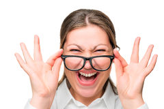 面孔叫喊的办公室工作者佩带的玻璃 免版税库存图片