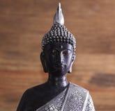 面孔和一个灰色和黑budade形象的半身体在棕色背景的 免版税图库摄影