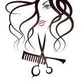 面孔女孩剪刀和梳子 库存照片