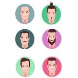 面孔字符男性动画片传染媒介集合 免版税图库摄影