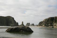 面孔岩石在Bandon,俄勒冈,美国 免版税库存图片