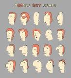 面孔男孩 套20个不同具体化人字符 免版税库存图片