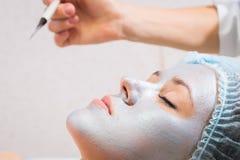 面孔的化妆做法 免版税库存图片