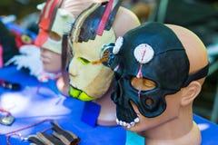 面孔的手工制造面具从皮肤,在helloween的面部面具 库存图片