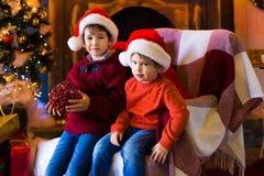 面孔,圣诞节帽子,树,严肃 库存图片
