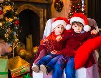 面孔,圣诞节帽子,树,严肃 免版税库存照片