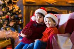 面孔,圣诞节帽子,树,乐趣 免版税库存图片