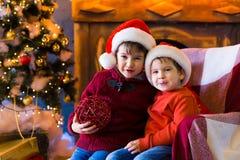 面孔,圣诞节帽子,树,乐趣 免版税图库摄影